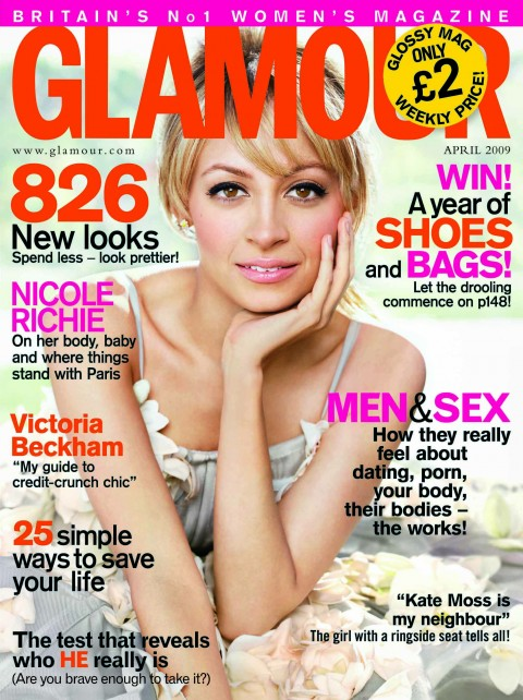 COVER QUEEN || Nicole Richie x Glamour Magazine UK April  2009