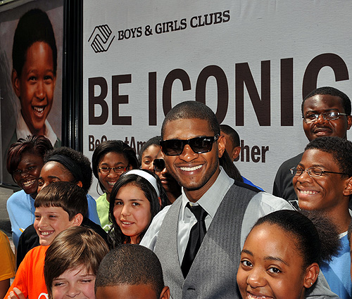 Giving Back || Usher Unveils Boys & Girl's Club 'Be Iconic' Billboard